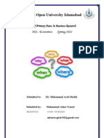 Use of Primary Data in Business Research
