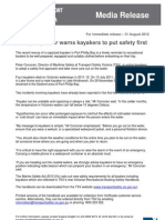 Safety Regulator Warns Kayakers to Put Safety First
