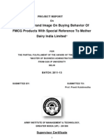 Impact Of Brand Image On Buying Behavior Of FMCG Products With Special Reference To Mother Dairy India Limited