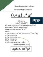 Conversion of Capacitance From Micro Farad to Pico Farad
