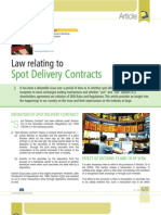 Article on Law Relating to Spot Delivery Contracts