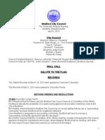 Medford City Council Agenda April 9, 2013