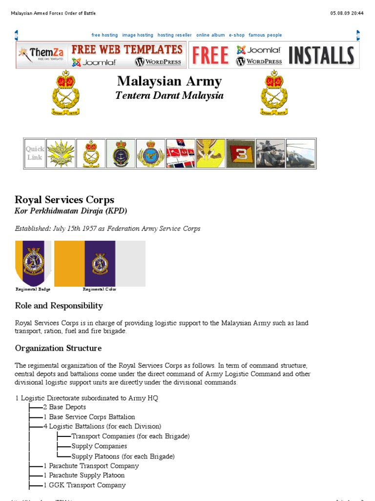 Malaysian Armed Forces Order of Battle Logistics pdf