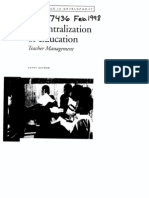 decentralisation of teacher management