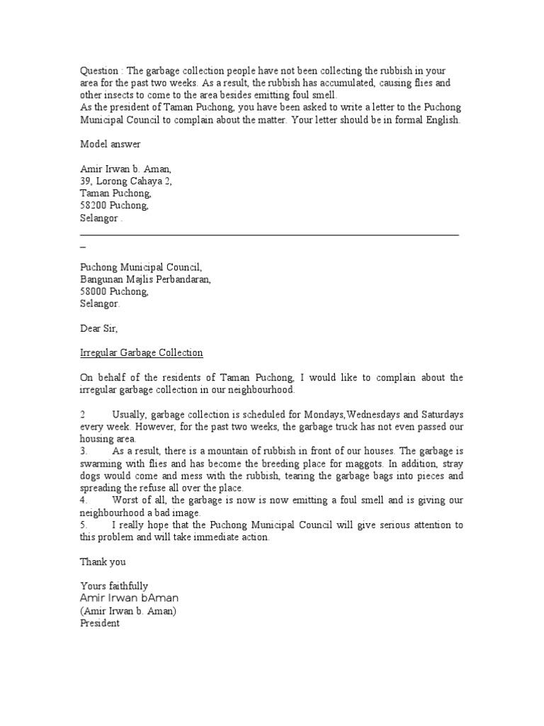 Complaint Letter Example Spm