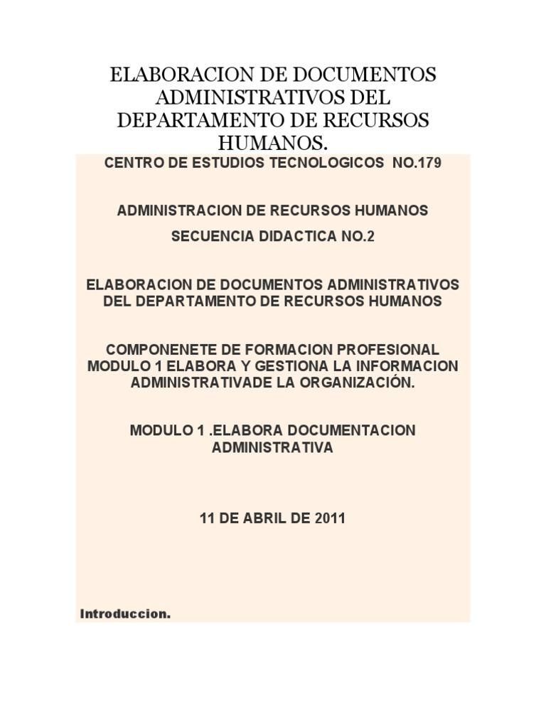 Elaboracion de Documentos Administrativos Del Departamento de ...