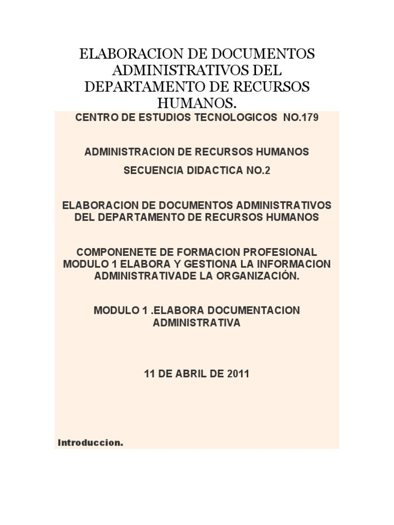 Elaboracion De Documentos Administrativos Del Departamento De Recursos Humanos Salario Factura
