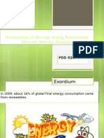 Production of Energy Using Renewable (Green) Sources.