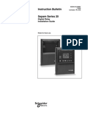 Sepam 20 Installation Manual | Relay | Electrical Connector