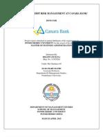 A Study on Credit Risk Management at Canara Bank