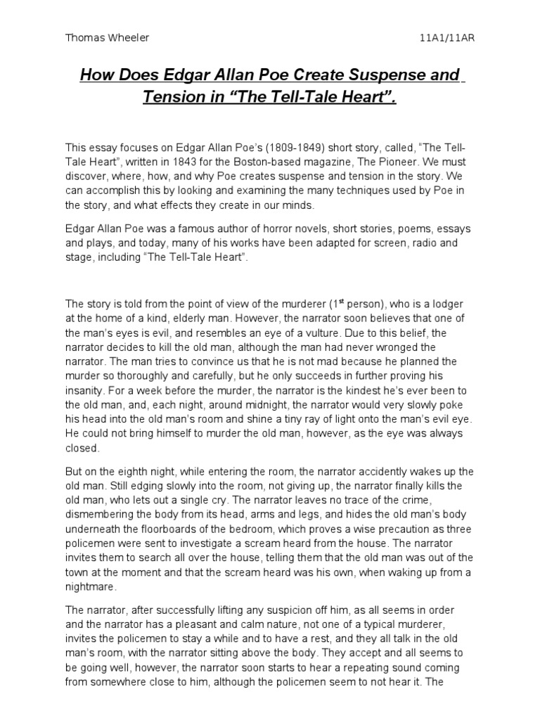 Essay On The Tell Tale Heart how to start a narrative essay indent ...