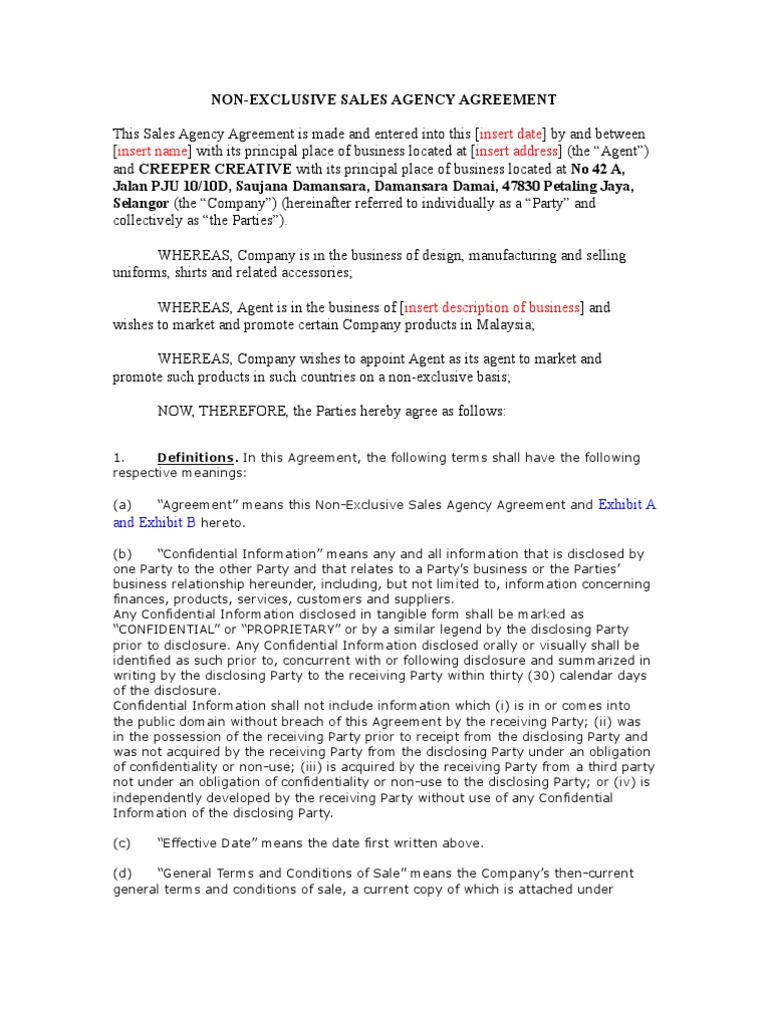 Sales Agency Agreement Template Law Of Agency Trademark