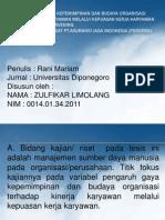 PENGARUH GAYA KEPEMIMPINAN DAN BUDAYA ORGANISASI TERHADAP KINERJA KARYAWAN MELALUI KEPUASAN KERJA KARYAWAN SEBAGAI VARIABEL INTERVENING. Studi Pada Kantor Pusat PT.Asuransi Jasa Indonesia (Persero)