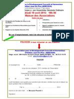 Invitation Pouvoir AG 19 Avril 2013