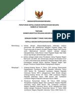Peraturan Kepala BKN No. 22 Tahun 2007 Ttg Nomor Identitas PNS