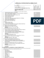 performance appraisal system for teachers (past) form