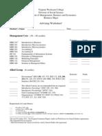 Advising Worksheet Revised November 2012