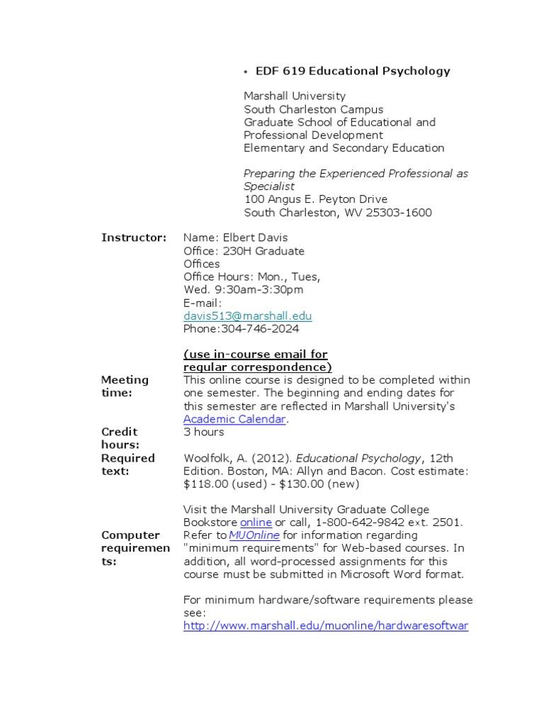 Marshall University Academic Calendar.Edf 619 Educational Psychology Constructivism Philosophy Of