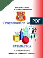 Programación Curricular Anual - 1º - Matemática