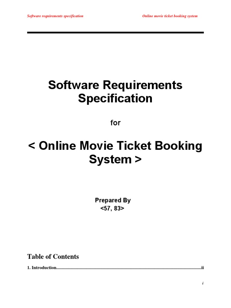 Srs for online movie ticket booking user computing websites ccuart Image collections