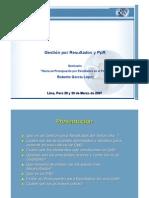 Gestión por Resultados y el PpR Roberto Garcia Lopez