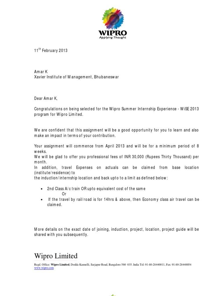 Wipro offer letter business economics spiritdancerdesigns Images