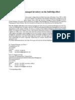 Hohmann Zelewski - Effects of Vendor-Managed Inventory on the Bullwhip Effect - Preprint