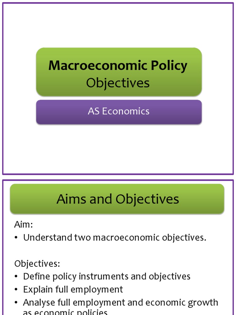 aims and objectives of economic growth