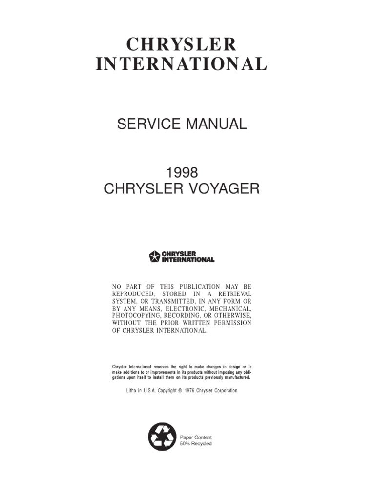 Chrysler Voyager 2002 Service Manual Car Owners Engine Diagram Rh Scribd Com Navi Specs