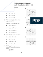 Algebra 2 Benchmark Test