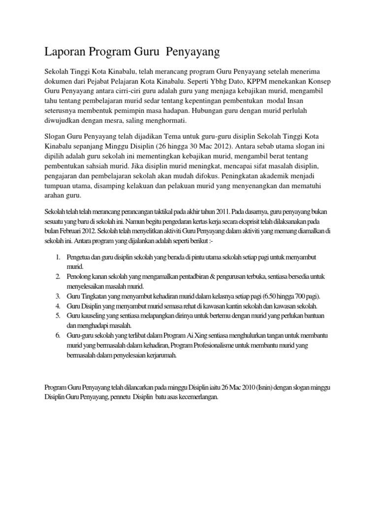 Laporan Program Guru Penyayang Docx