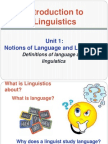 Notions of Language and Linguistics