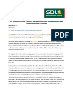 SDL Accelerates Customer Experience Management Initiatives With New Release of Web Content Management Technology