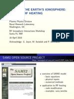 Modeling Earth's Ionosphere - SAMI2 and RF Heating Sami2_heating