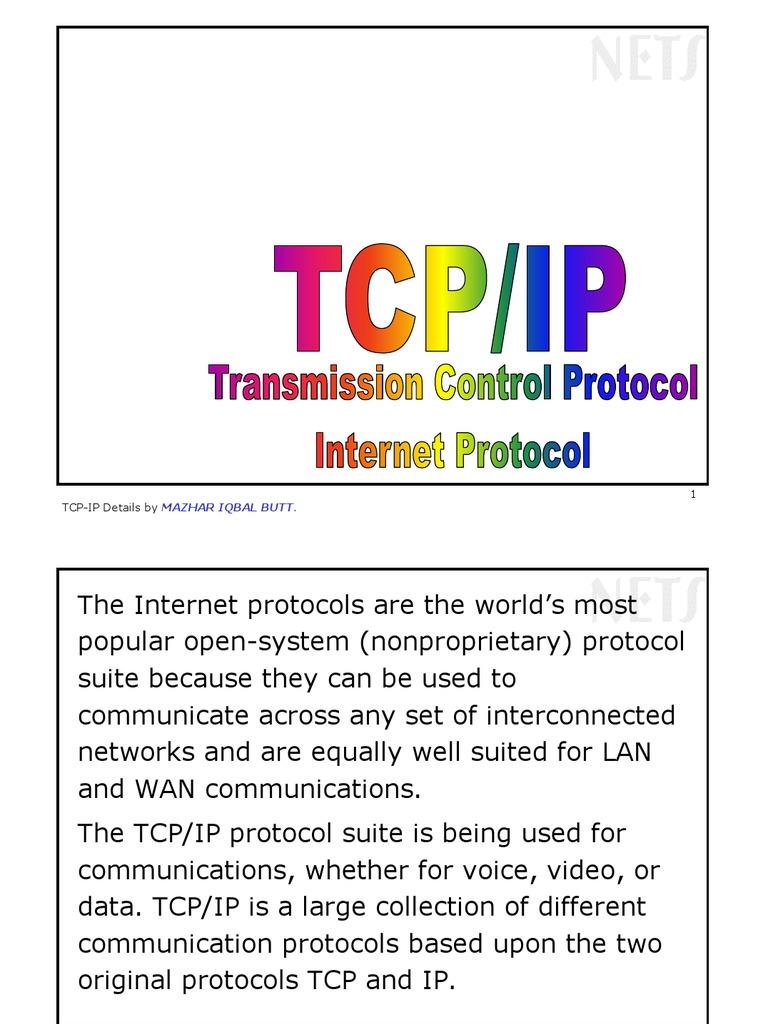 Protocols TCPIP Internet. TCPIP protocol stack 78