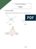 EXERCÍCIOS ângulos internos e externos de um triângulo