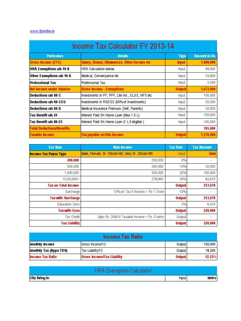 Income Tax Calculator 2013-14