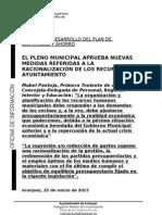 NOTA MEDIDAS DE ORGANIZACIÓN Y RACIONALIZACIÓN
