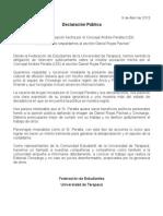 FEUT - Declaración Pública en respaldo a Daniel Rojas Pachas - 8 Abril 2013