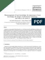 Mismanagement of Tacit Knowledge