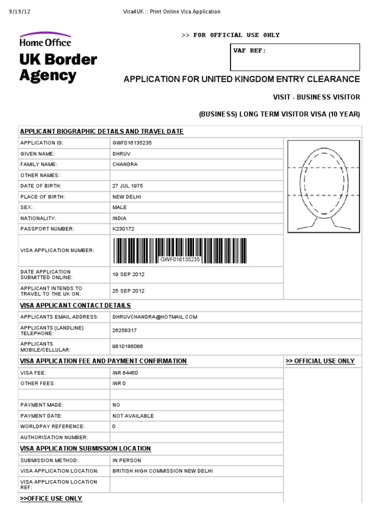 Magnificent Home Office Visa Application Forms Vignette - Home ...