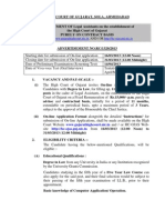 Gujarat HC Advertisement for Post of Legal Assistants