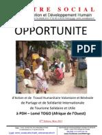 Opportunité de travail humanitaire volontaire et bénévole à PDH Lomé TOGO 6ème Edition Mars 2013