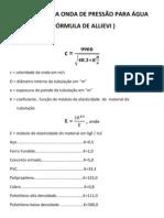 14-CELERIDADE DA ONDA  PARA ÁGUA-FÓRMULA DE ALLIEVI
