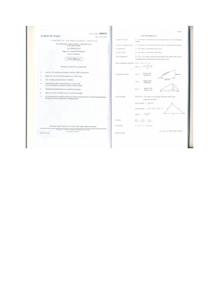 CSEC Mathematics May 2003