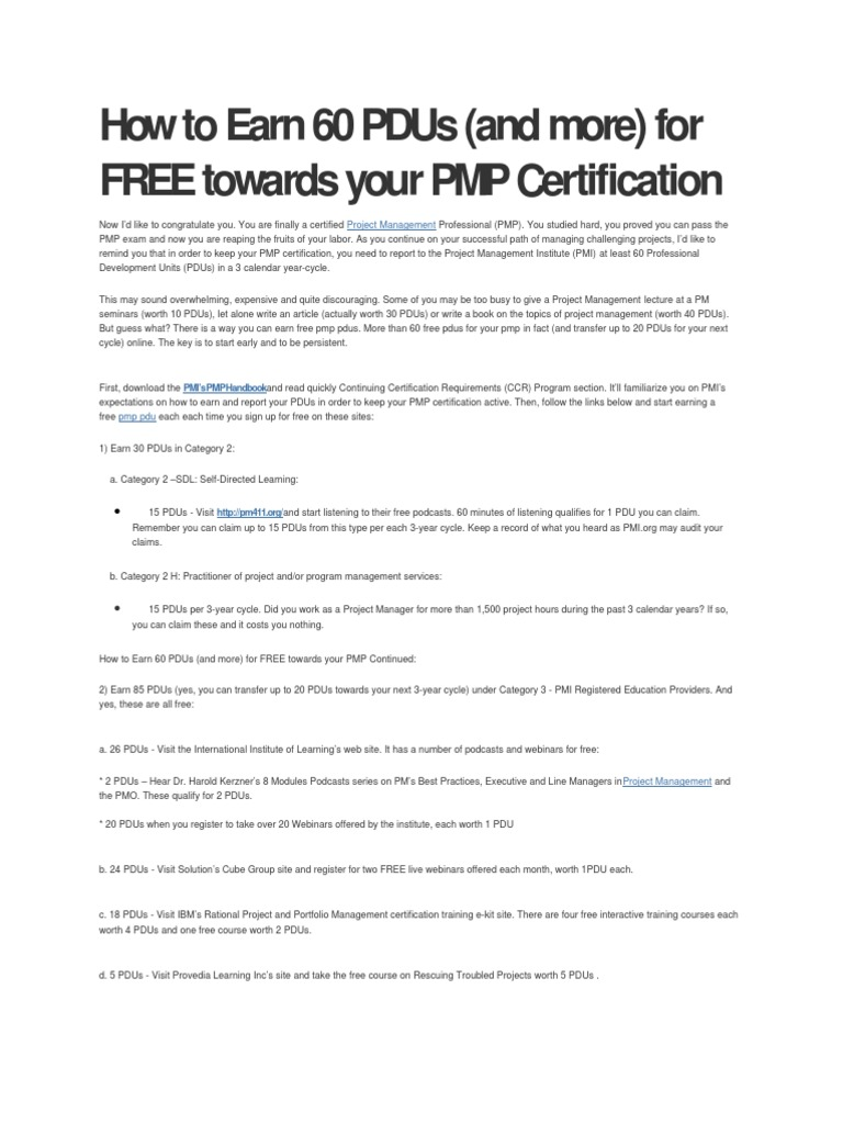 How To Earn 60 Pdus Project Management Professional Business