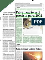 2001.08.24 - Privatização está prevista para 2002 - Estado de Minas