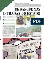 2001.12.16 - DUAS PESSOAS MORREM APÓS BATIDA ENTRE UMA VAN E UM ÔNIBUS NA BR-381 - Estado de Minas