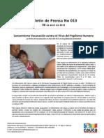 Boletín 013_ Lanzamiento Vacunación contra el Virus del Papiloma Humano