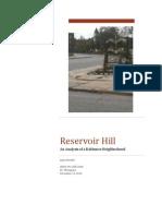 Reservoir Hill - Analysis of a Baltimore Neighborhood
